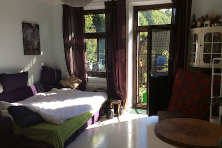 The apartment has a sleeping/living room, kitchen, bathroom and balcony with nice view. The apartment is very sunny and cosy in a green area.
