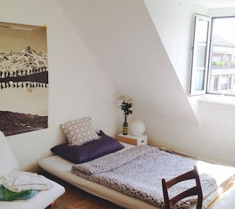 We rent out one cosy private room with a beautiful view over the roofscape of Basel.   It is situated literally 250 meters walking (3min) distance of Baselworld fair.