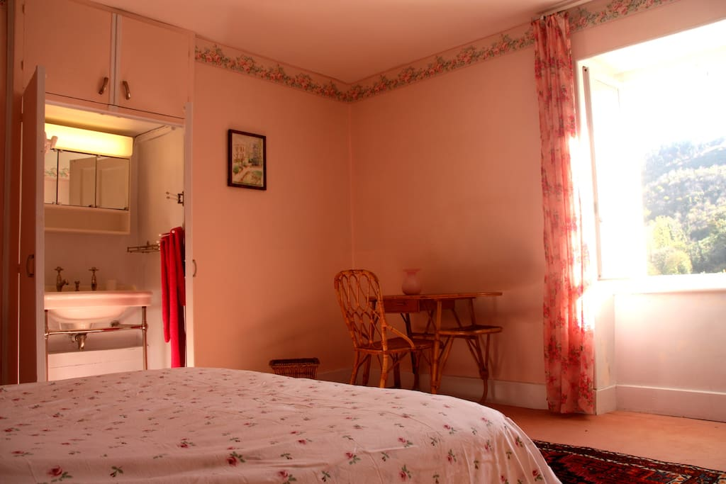 the pink view with antic sink