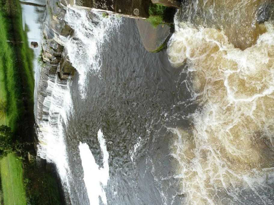 The weir on the River Esk, perfect for samon and trout fishing