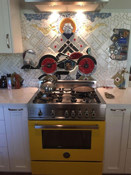 New Italian stove and customized backsplash