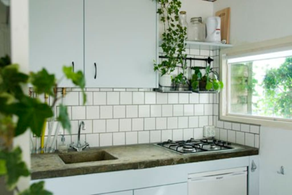 The selfmade kitchen countertop makes this simple kitchen special