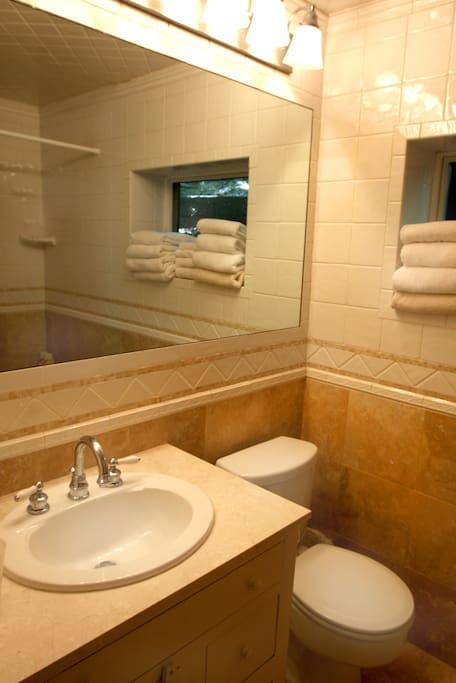 2 marble tile full baths