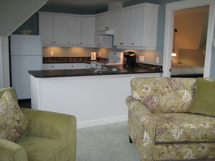 Kitchen and seating area.