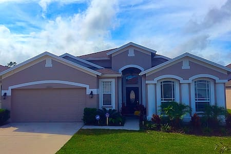 Our home is beautiful and comfortable.  4 Bedroom 3 bath home.  Great for families or couples.  The home boasts travertine marble floors and wood floors.  Community pool in a lovely family friendly neighborhood.  Granite Counters and Stainless Appli
