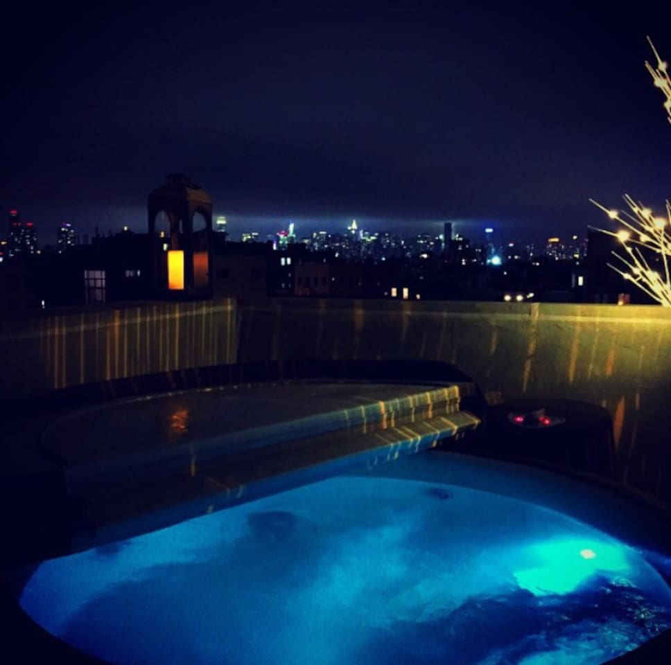 Your private terrace and hot tub overlooking Manhattan skyline