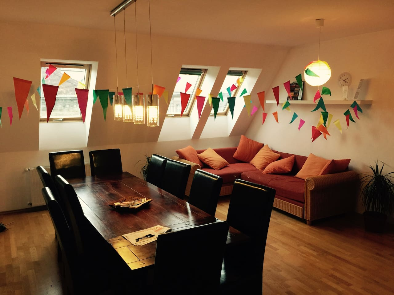 Common room with flags