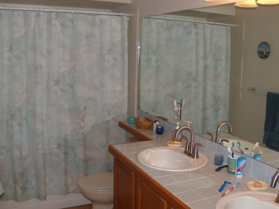 The guest bath, with double sinks, modern fixtures, hotel style shower head, and beach artwork and colors