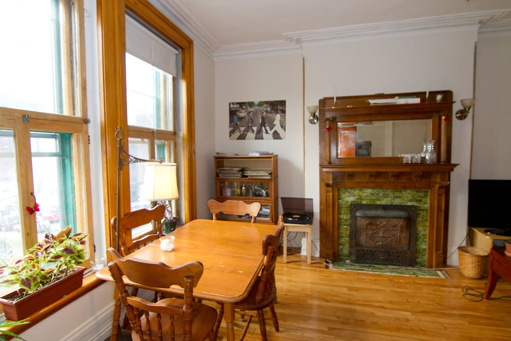Bright living space facing the park. Original 1901 windows, mouldings and doors.