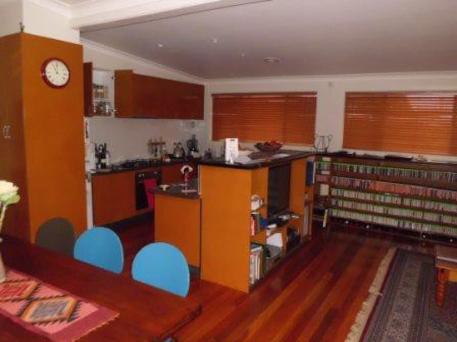 dining and kitchen area with gas stove