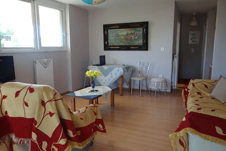 Great view while being accessible from the airport.  Transport from/to the airport is included in the free amenities. The apartment is a 4 minute drive from the airport.  Free internet access. Please indicate apartment A when communicating.
