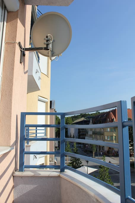 balcony with parabola antenna