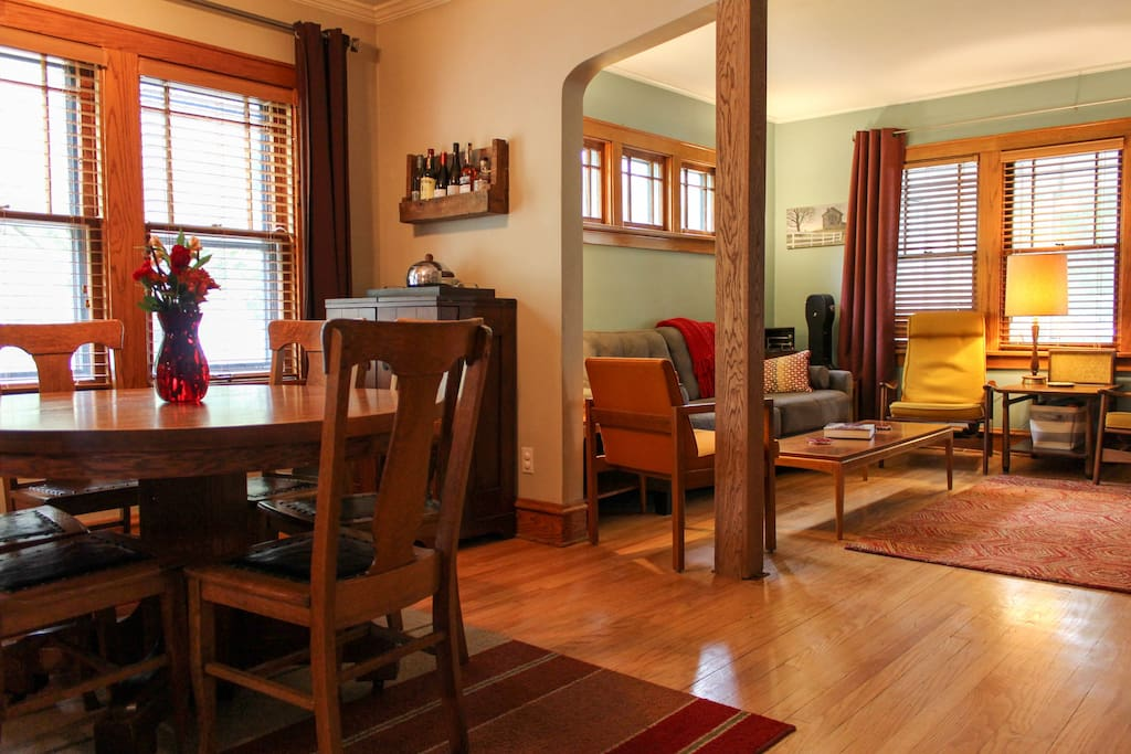 The shared living and dining rooms.