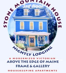Nightly Lodging in a restored 1880's Mansard located in the foothills of the White Mountains & the Lakes Region of Western Maine. 30 miles west of Portland. Five minutes to Stone Mountain Arts Center. Easy access to North Conway for shopping & skiing