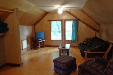 This is a 2-story guest house all to yourself. If you are visiting Bloomington and want a quiet place to retreat to that is away from the college party scene then this is for you.