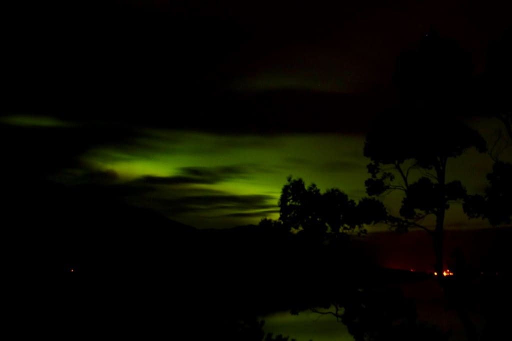 The elusive Northern Lights viewed in front on the house on 8/10/15