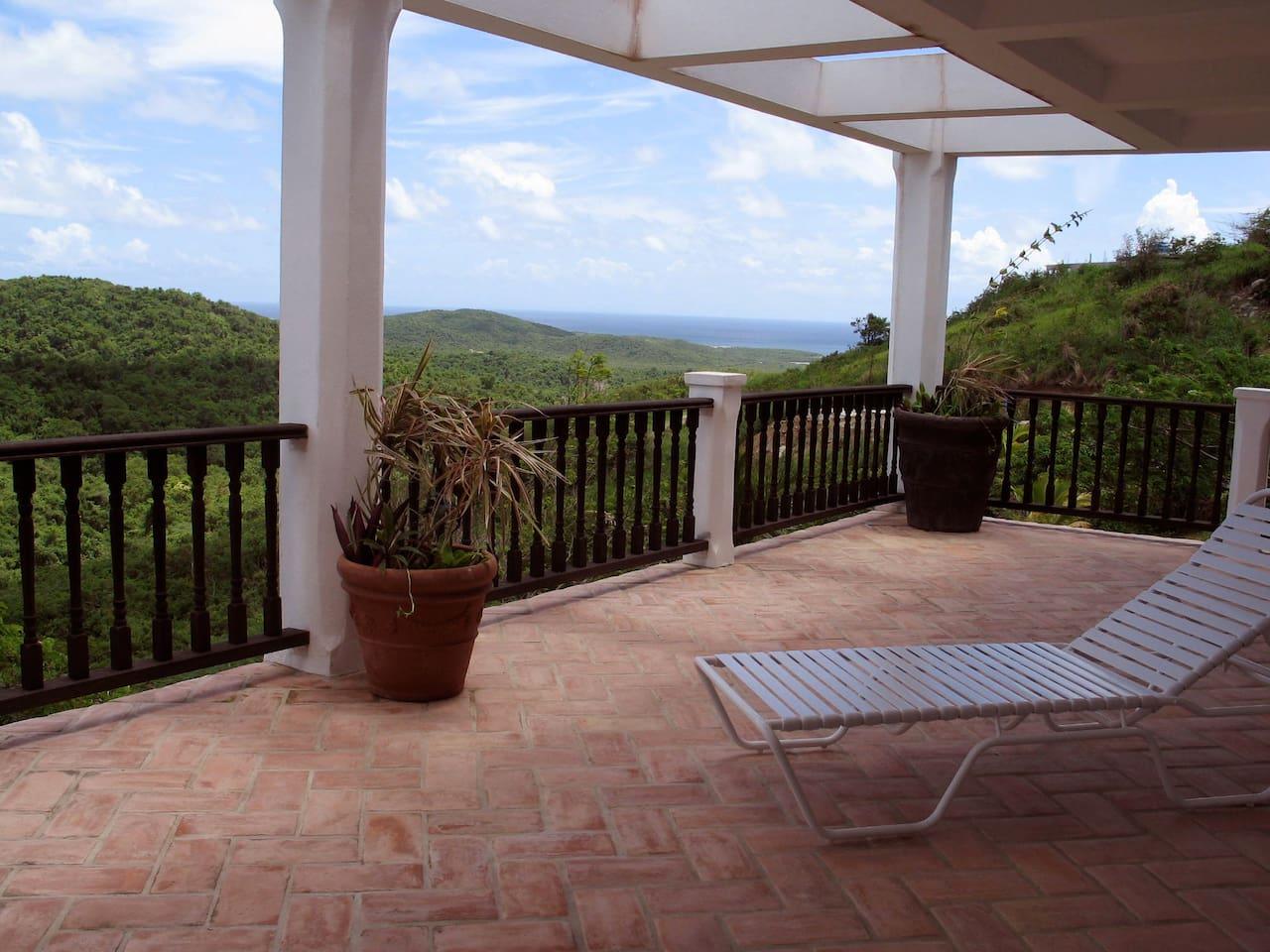 Back terrace looking southeast towards St. Croix