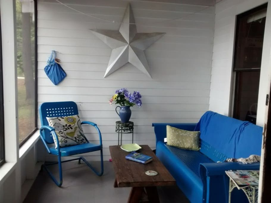 Expansive porch overlooking the water