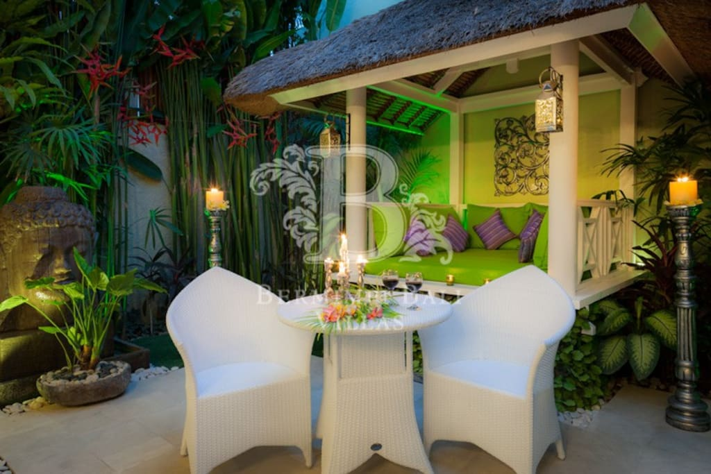 Private Bali Bale for relaxing.  We love our Balinese courtyard