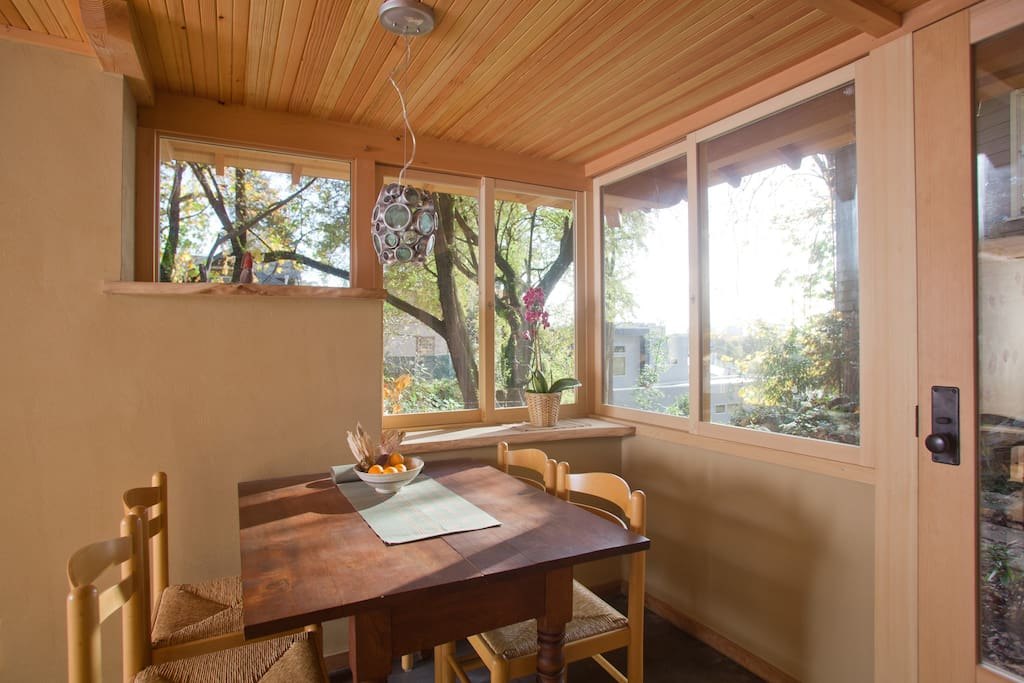 Sunny dining nook with sliding windows... Perfect mornings!