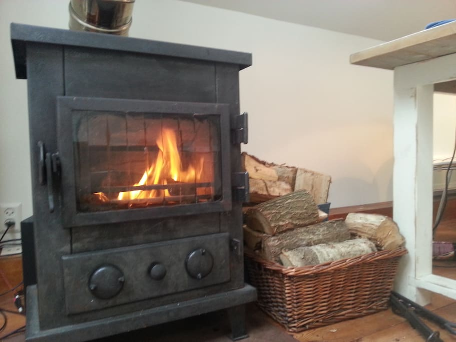 The fireplace adds a romantic touch to the boat