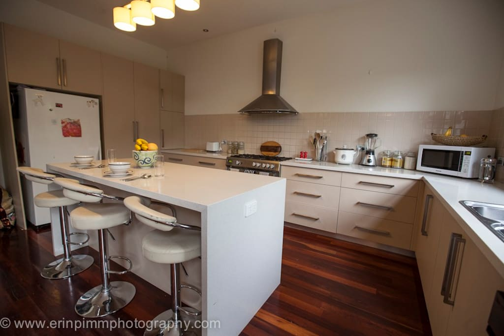 clean, modern very spacious shared kitchen