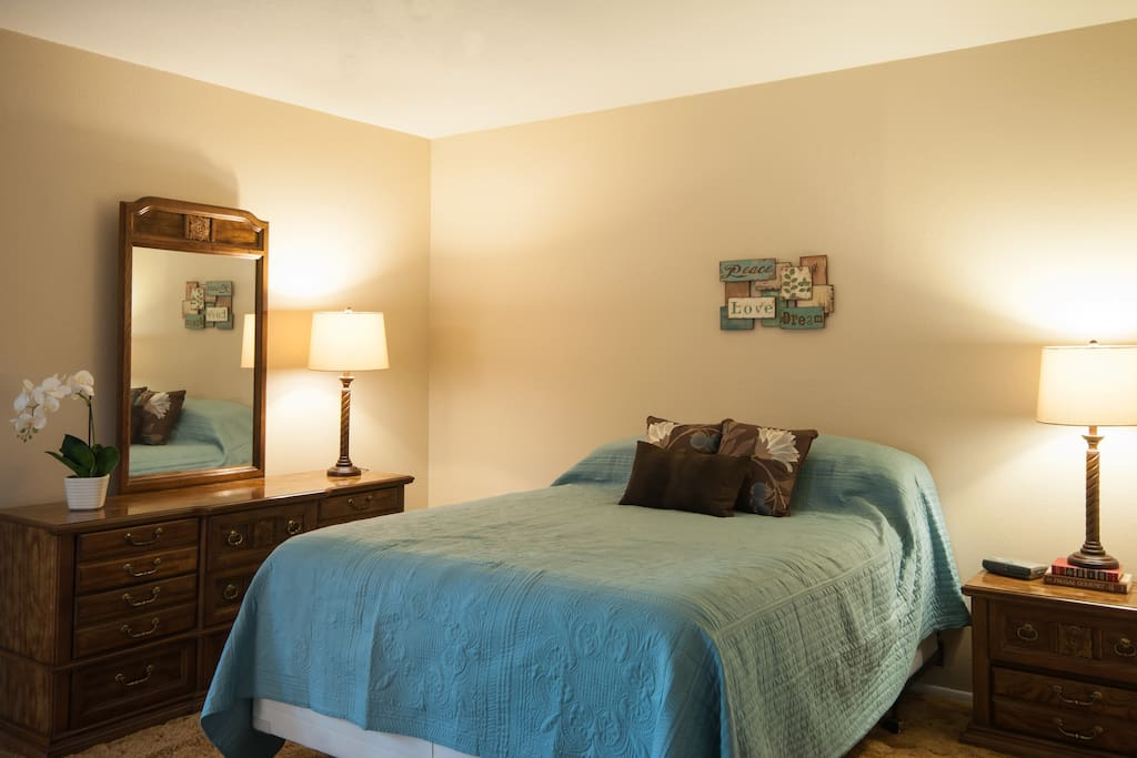 The master bedroom has a queen bed and large closet.