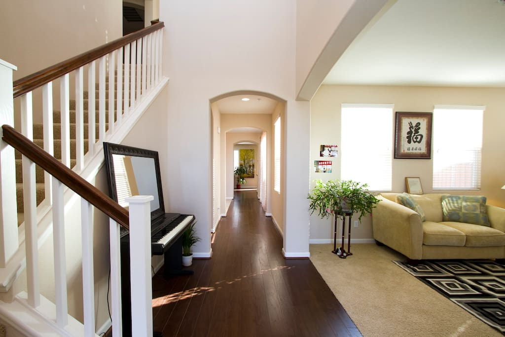 Hallway with living room