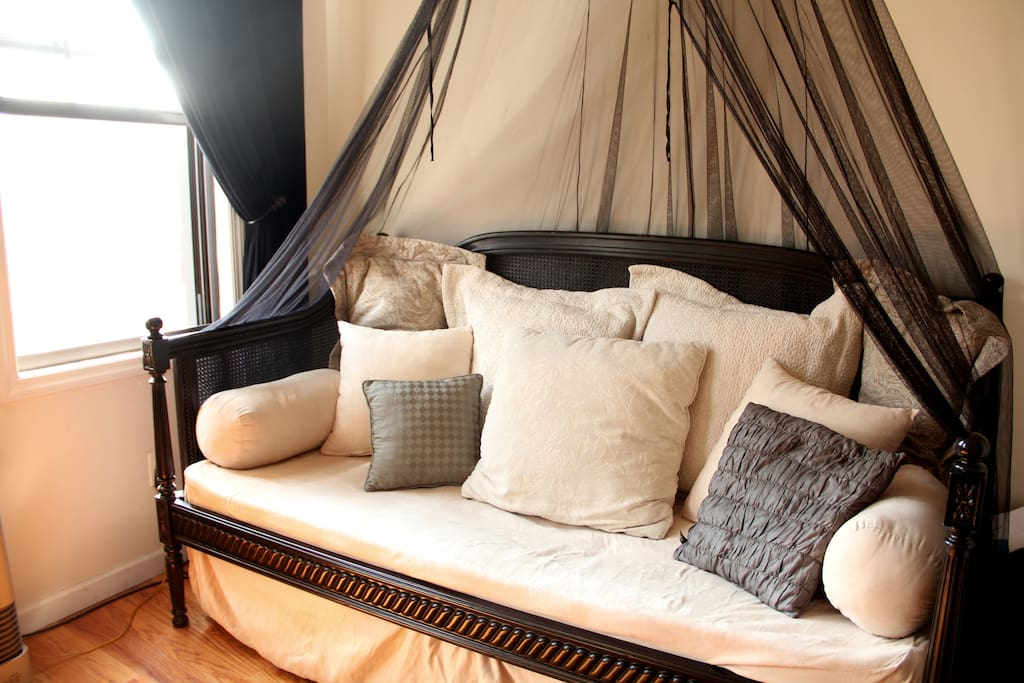 Our lovely daybed with Peacock Alley ultra suede, matelasse and paisley bedding with  lush pillows. Comfy and sweet...