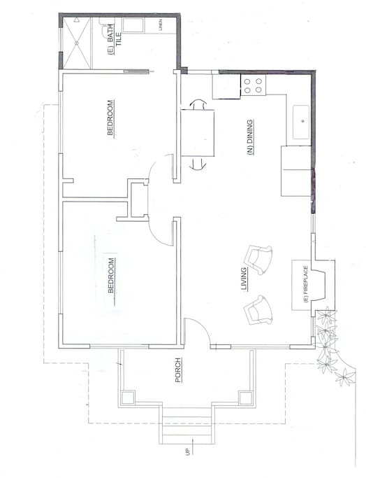 Layout of rental. Please note that bathroom is acessable through the back bedroom.