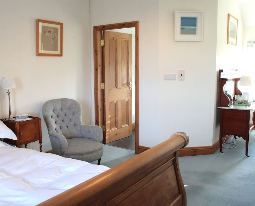 This is the Blue Room, has a very large double bed.
