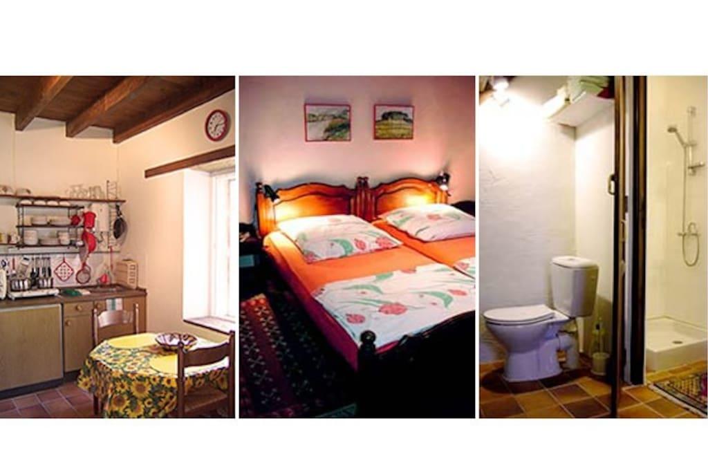 Kitchenette, bedroom and bathroom.