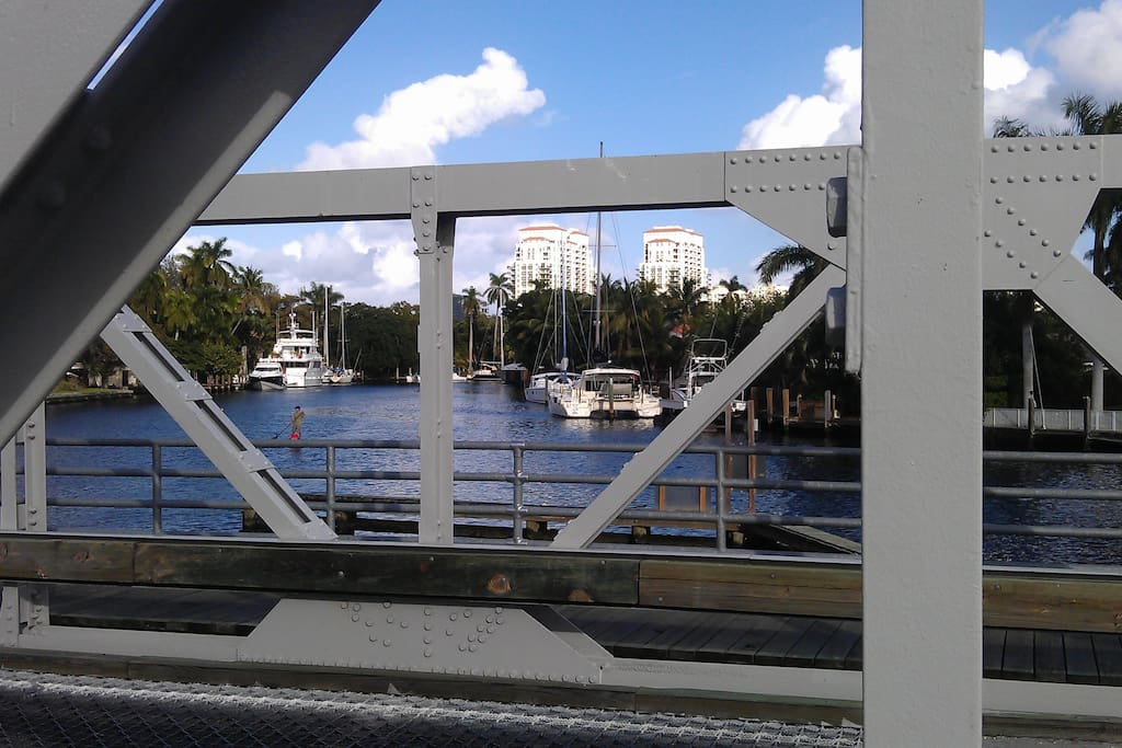 Downtown Fort Lauderdale can be seen just down the river from the bridge.