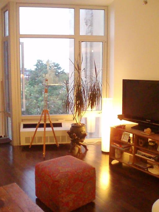 Floor to ceiling windows provide plenty of light.