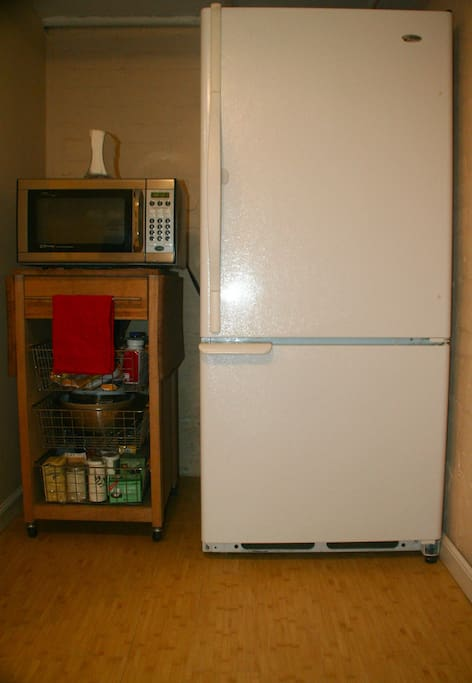 Microwave and full size refrigerator