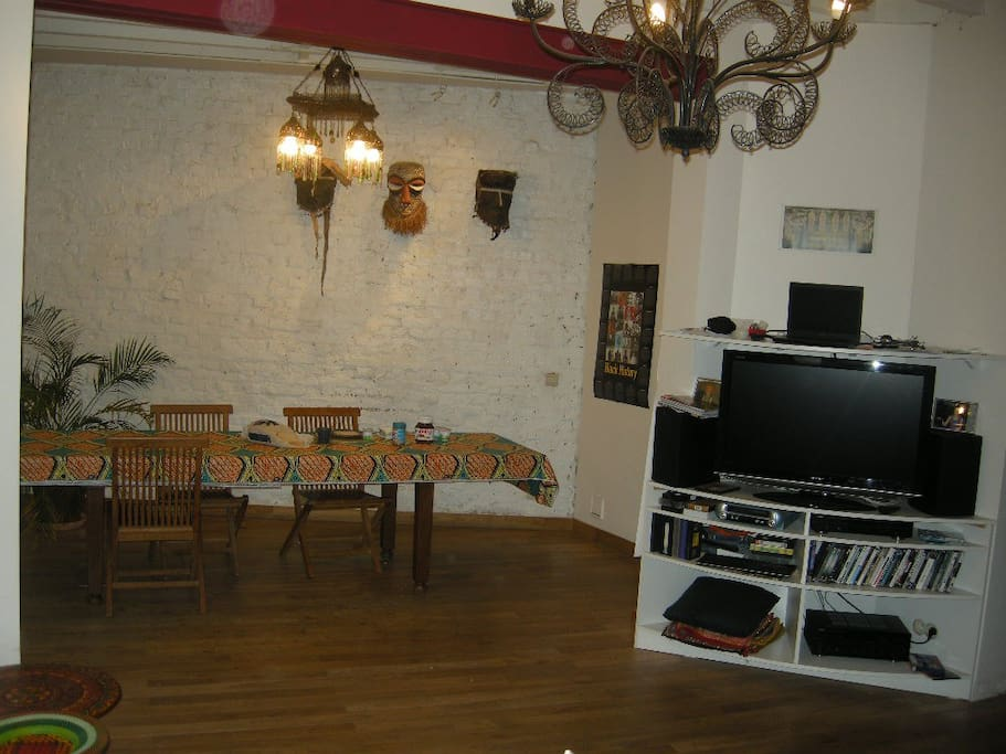 our ground floor - the dining part at the back (left), the tv part in the front (right)
