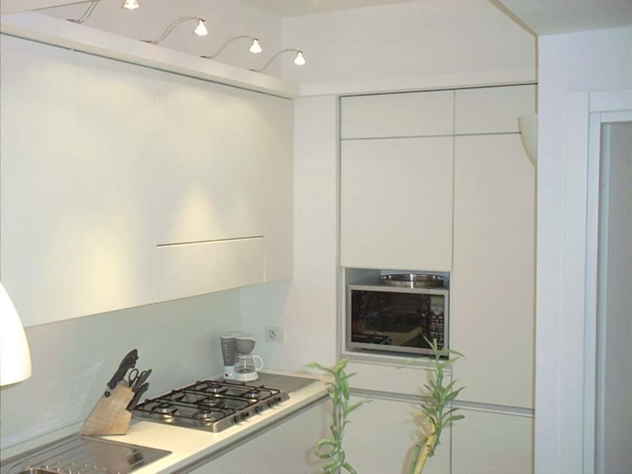 What it looks like a microwave is also a conventional oven, the kitchen also includes the washing machine and dishwasher