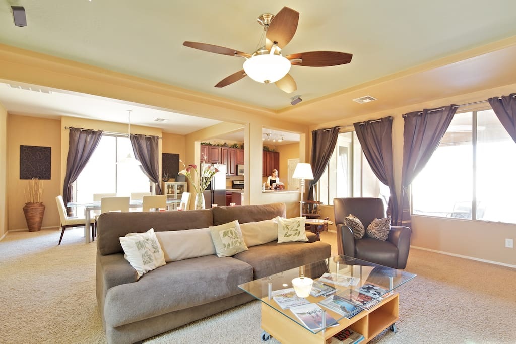 Our spacious family room is great for relaxing and conversation