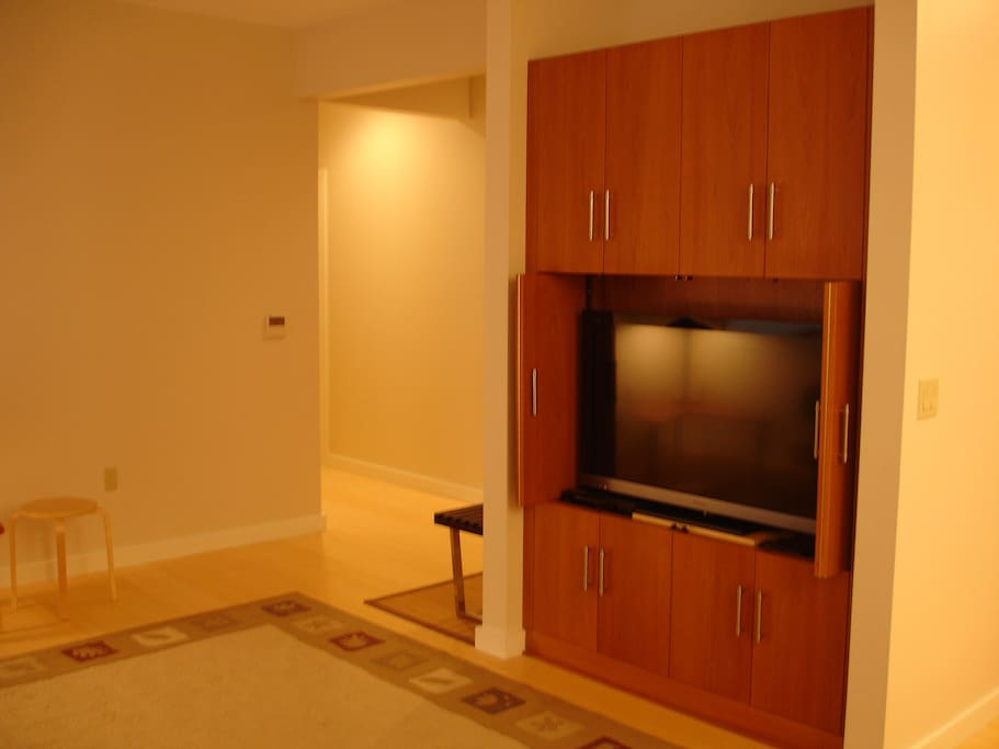 Entry and Living room with television cabinet.