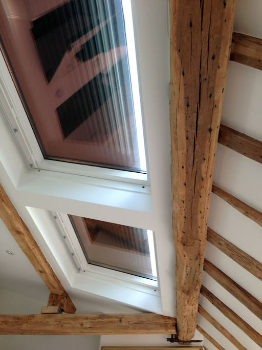 Remote controlled motorized shutters allow the skylights to block out all of the light