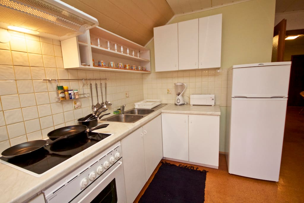 Fully furnished and functioning kitchen with many appliances