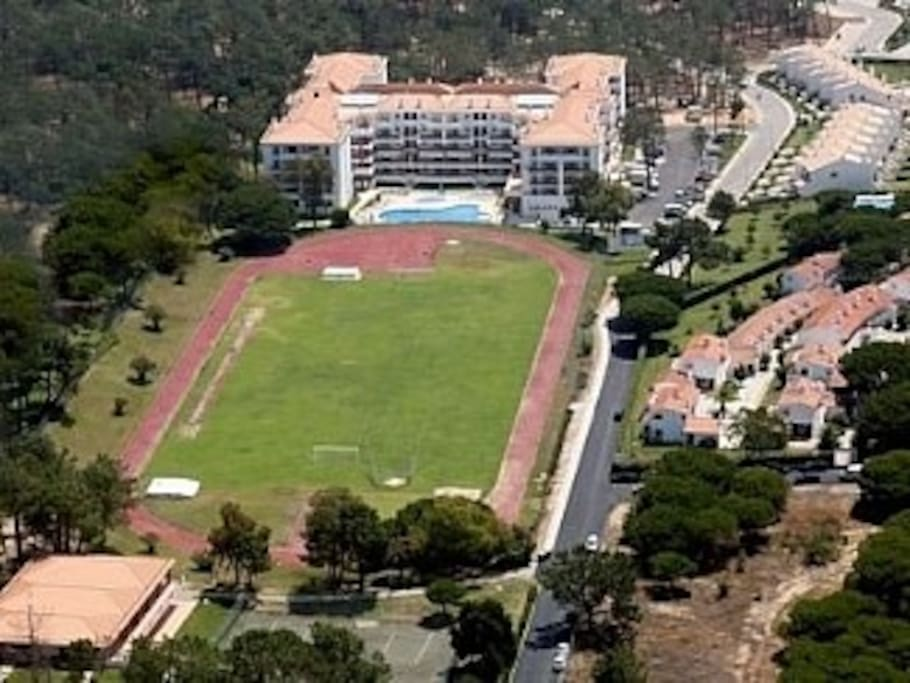 View of Stella Maris complex. Athletic Track, Football Field, Pine Forrest,