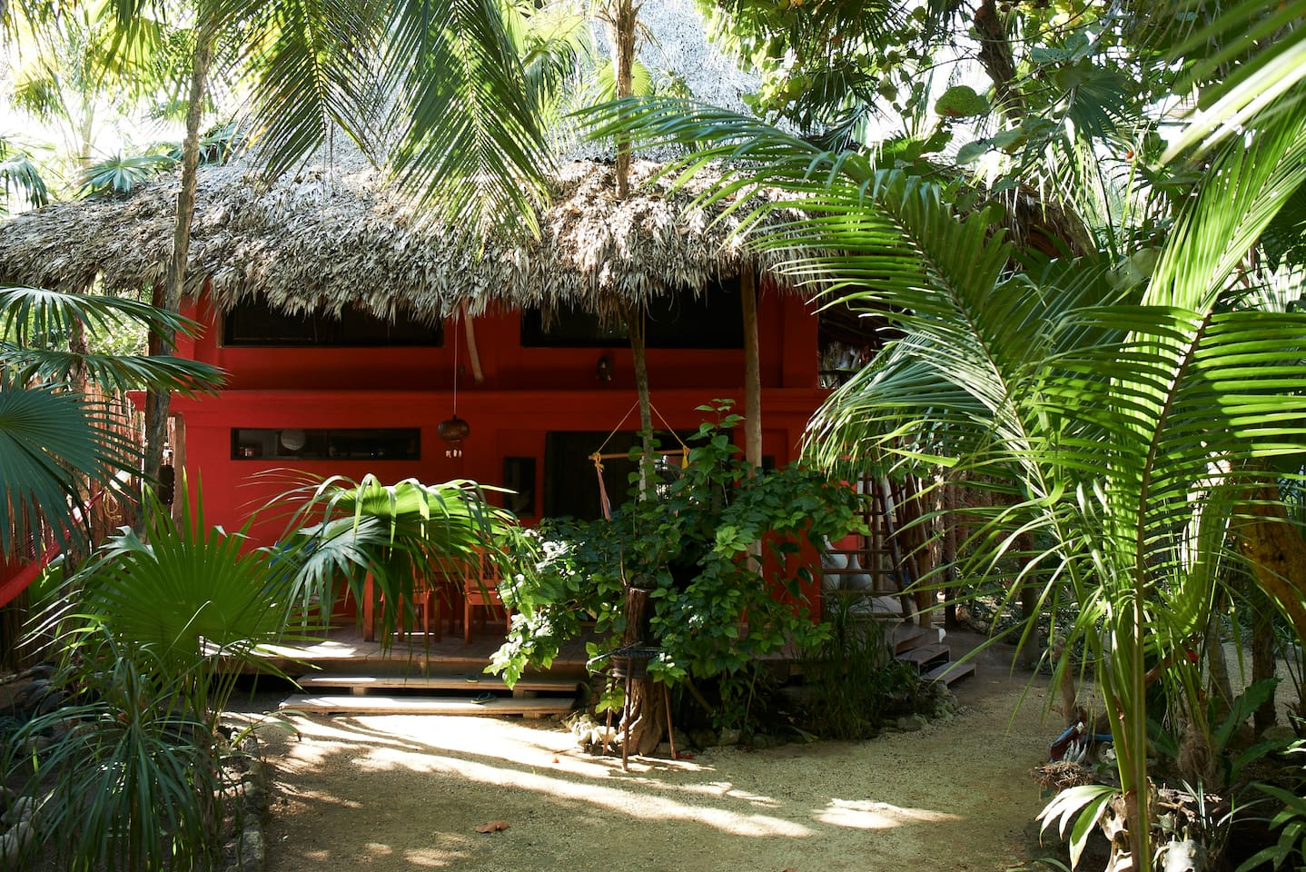 Front of jungle beach house