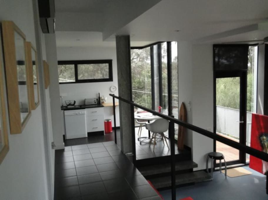 Entry into Studio from Polwarth - three different levels throughout the residence.