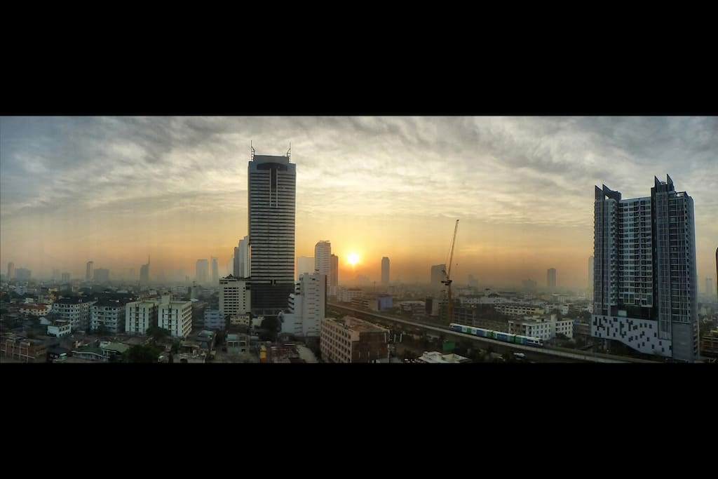 stunning skyline of Bangkok from the balcony