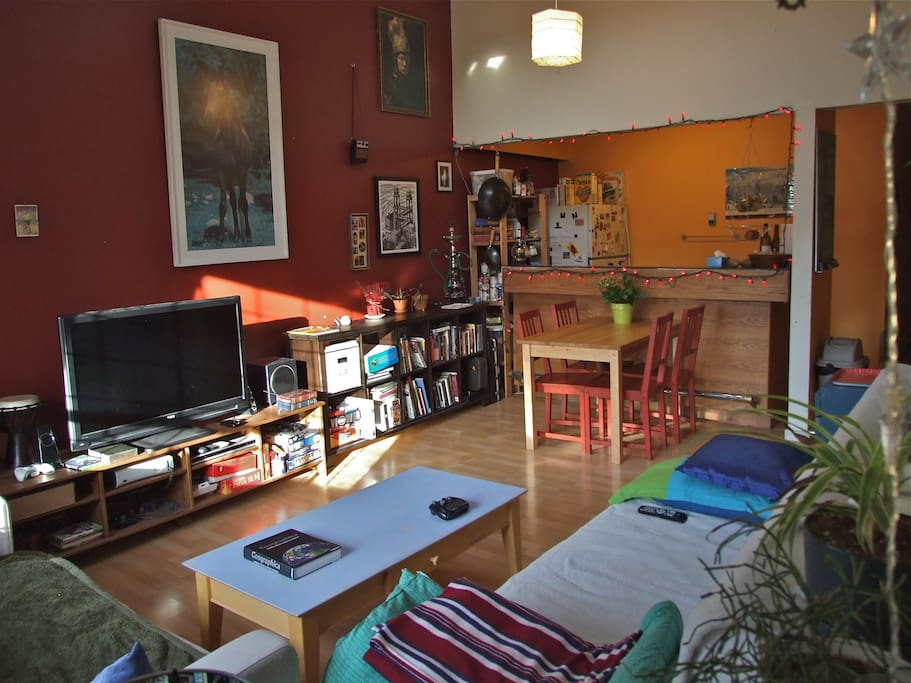 Our living room. Eclectic and bright.