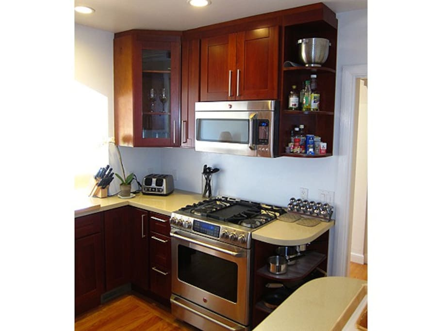 The recently remodeled gas kitchen is equipped for a gourmet