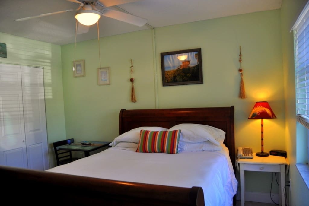 Our small Guest room is an affordable way to enjoy the exclusive Lido Key location, steps to the beach and St. Armands Circle for shopping and dining
