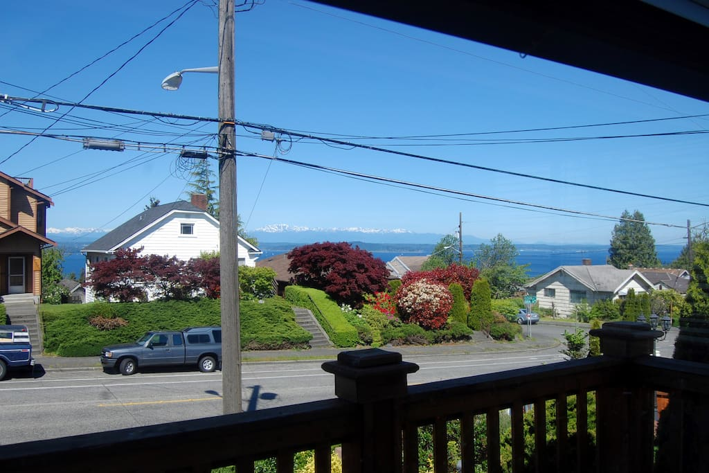View from the front deck. You are welcome to enjoy sunsets on the front deck or lounge in the backyard.
