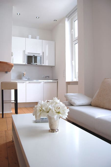 living area with small kitchenette in glossy white